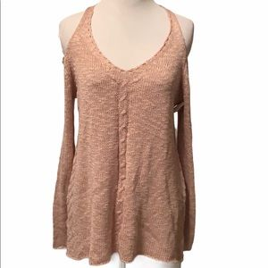She & Sky dusty pink cold shoulder sweater, small